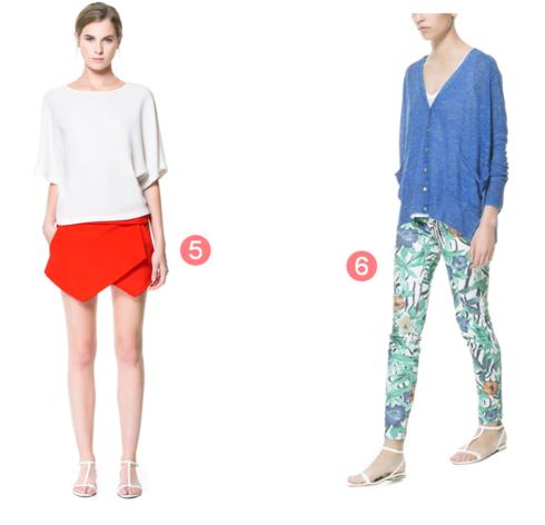 5-6 short rouge zara pantalon imprimé